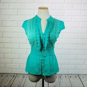 XOXO Turquoise Ruffle Lace Blouse - Size Medium